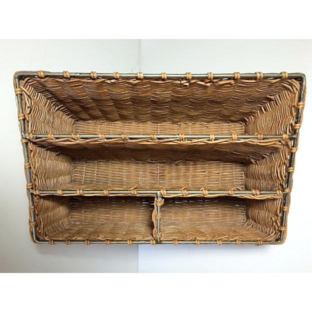 Late 20th Century Vintage Woven Wicker & Steel Desk Organizer For Sale - Image 5 of 7