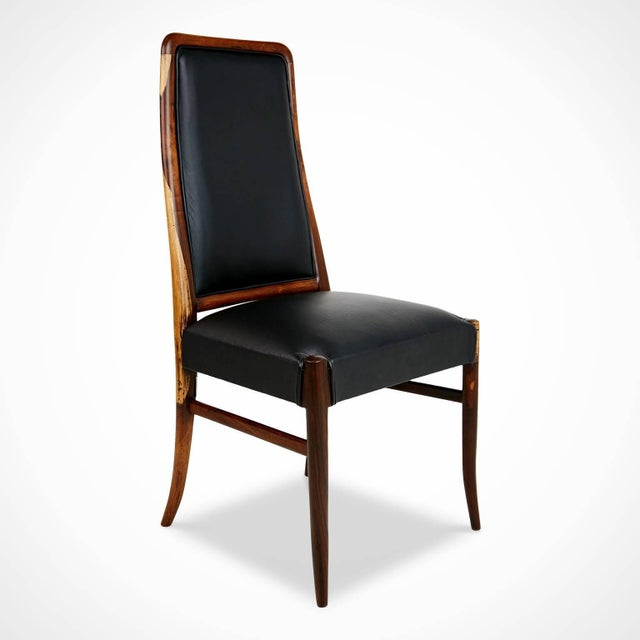Mid-Century Modern Exotic Jacaranda and Black Leather Dining Chairs, Set of Four, Brazil Circa 1970 For Sale - Image 3 of 11