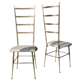 1970s Brass Gio Ponti Style Italian Ladder Back Chairs- A Pair For Sale