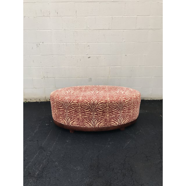 Mid-Century Modern Mid Century Modern Red Zebra Print Ottoman For Sale - Image 3 of 8