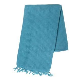 Handmade Turquoise Stone Washed Peshtemal Turkish Hand Loomed Cotton Beach Towel