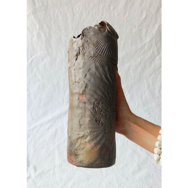 Tall Vintage Western Raku Imprint Abstract Vase For Sale - Image 9 of 9