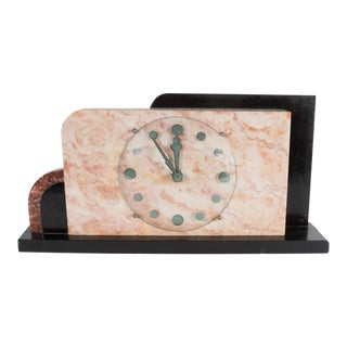 French Art Deco Streamline Exotic Pink, Black and Red Marble Table Clock For Sale