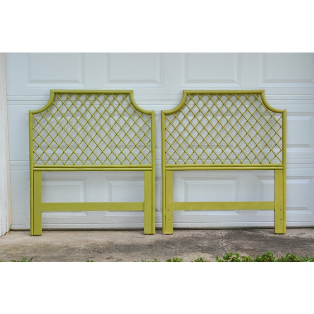 1970s Chinoiserie Twin Rattan Headboards - a Pair For Sale - Image 9 of 9