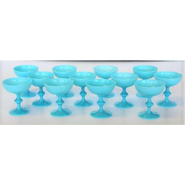Vintage Portieux Vallerysthal French Blue Opaline Champagne Coupes - Set of 12 - Image 2 of 4