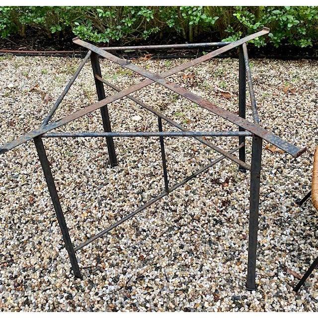 Arthur Umanoff Arthur Umanoff Round Table Rattan Top Metal Base For Sale - Image 4 of 6