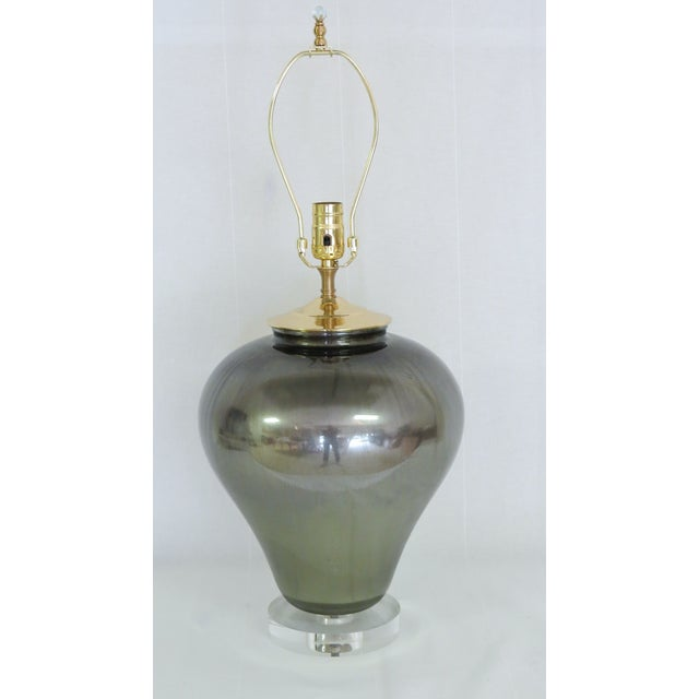 Bronzed Gold and Purple Glass Lamp - Image 2 of 8