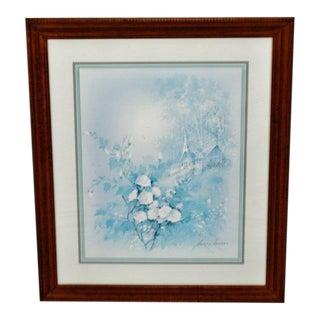 Vintage Framed Andres Orpinas Blue Monochromatic Landscape Print For Sale