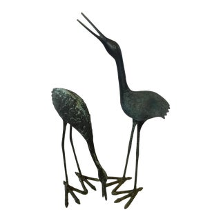 Charcoal Iron Cranes - Pair For Sale