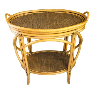 Hollywood Regency Bamboo and Rattan Oval Tea Table For Sale