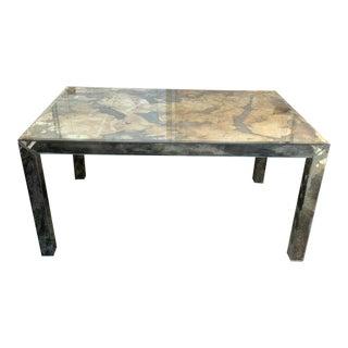 1970s Contemporary Verre Eglomisé Parsons Style Table For Sale
