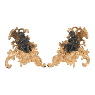 Louis XV Style Dore Bronze Chenets - a Pair For Sale