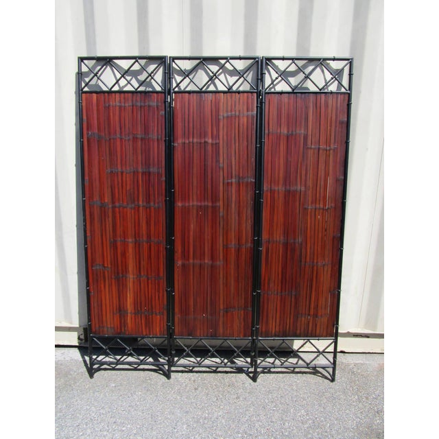 Wrought Iron & Bamboo Slet, 3-Panel Screen For Sale - Image 4 of 6