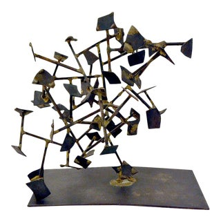 Welded Steel and Brass Sculpture by Harry Bertoia, Usa, 1950s