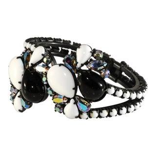 Hinged Clamper Bracelet Black White & Iridescent Rhinestones For Sale
