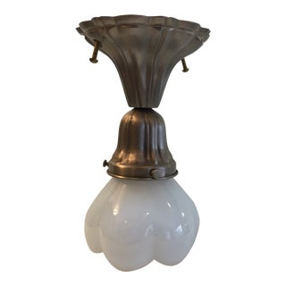 1920s Sheffield Nickel Plated Flush Mount Fixture For Sale