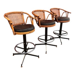 Vintage Mid Century Rattan Swivel Stools- Set of 3 For Sale