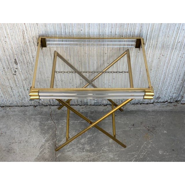 Mid-Century Modern Italian Tray Table With Brass Legs by Montagnani For Sale - Image 4 of 7