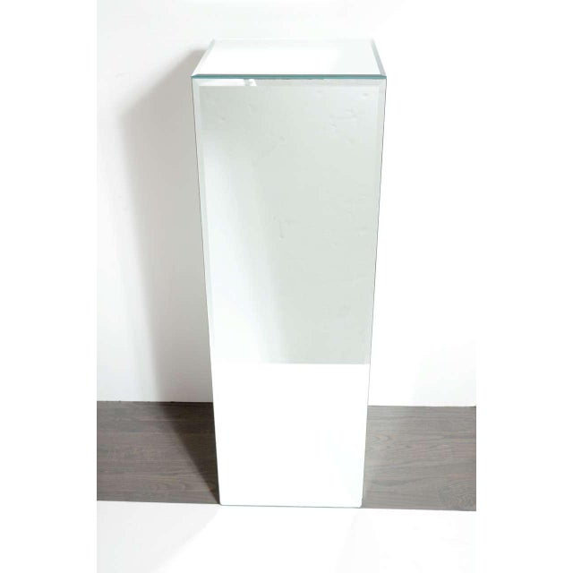 Modernist Hand Beveled Mirrored Pedestal For Sale In New York - Image 6 of 7