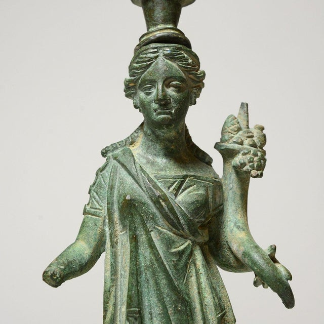 15th Century & Earlier Roman Bronze Lamp Stand Depicting the Goddess Fortuna For Sale - Image 5 of 6