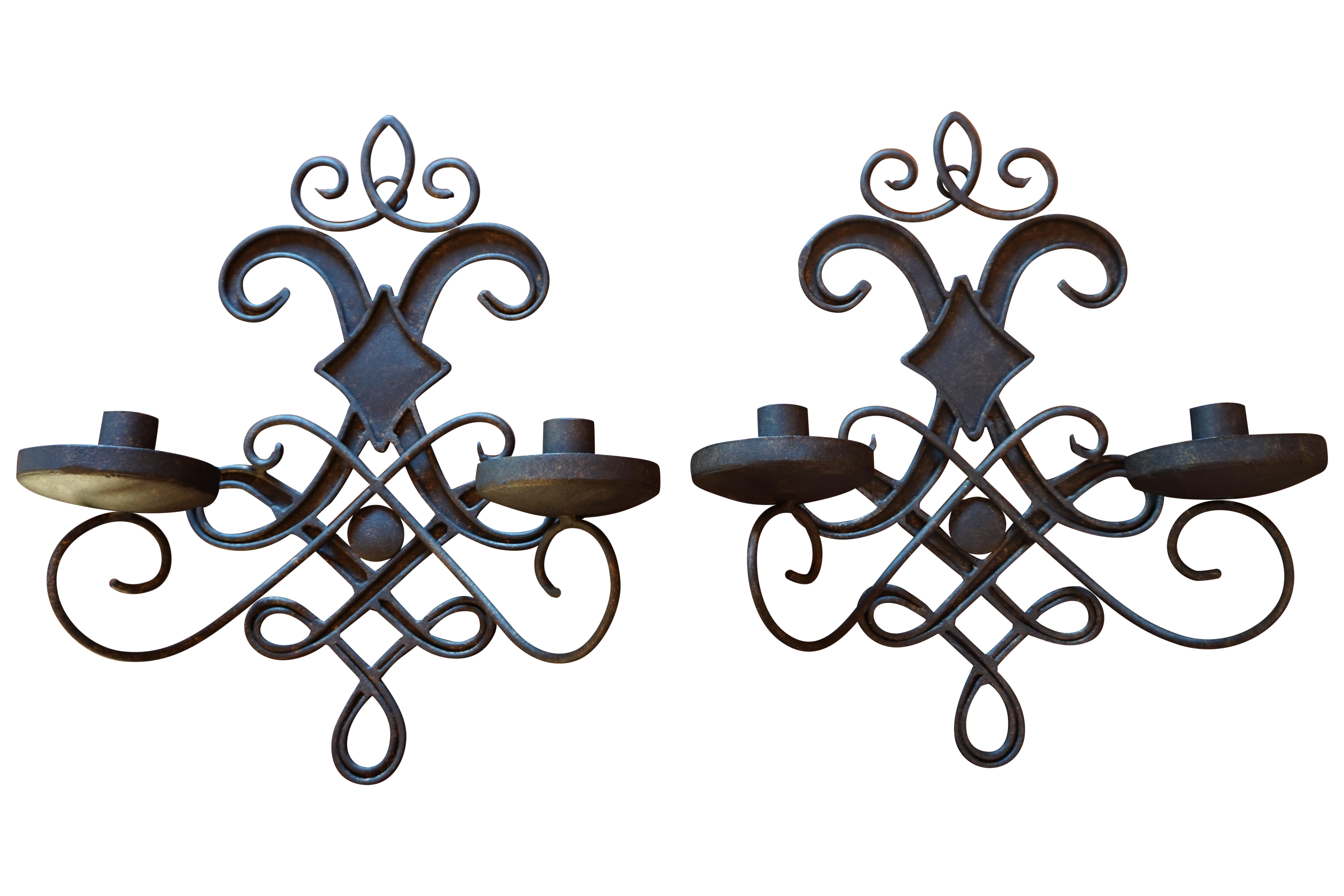 Vintage Wrought Iron Candle Wall Sconces   A Pair