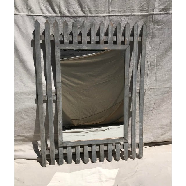 Gray Unique Vintage Picket Fence Style Framed Mirror For Sale - Image 8 of 8