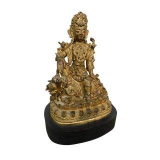 Vintage Antique Avalokiteshvara Badhisattva Guanyin Figure in Royal-Ease/Water-Moon Pose For Sale