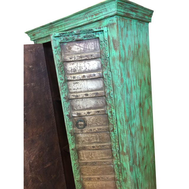Brass 1920s Jaypur Grounding Brass Vintage Green Patina Old Doors Storage Kitchen Cabinet For Sale - Image 7 of 8