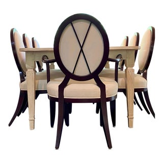 Baker Furniture Milling Road Dining Table and Eight Barbara Barry Chairs For Sale
