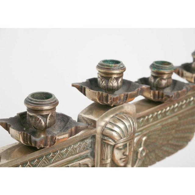 Metal Fine Pair of Art Deco Silvered Bronze Five-Light Candelabra For Sale - Image 7 of 9