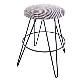 Dedar Fabric Hairpin Leg Stool With Upholstered Seat For Sale