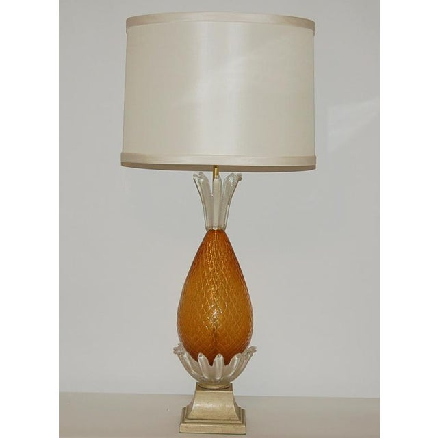 Hollywood Regency Vintage Murano Glass Pineapple Table Lamp Gold Large For Sale - Image 3 of 10