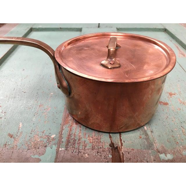 Bazar Francais Copper #14 Saucepan with Lid For Sale - Image 7 of 8