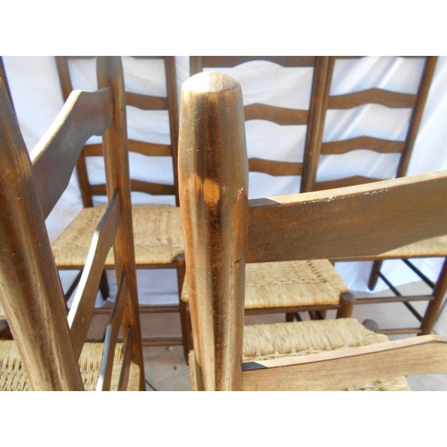 Vintage French Ladder Back Dining Chairs - Set of 6 - Image 9 of 9