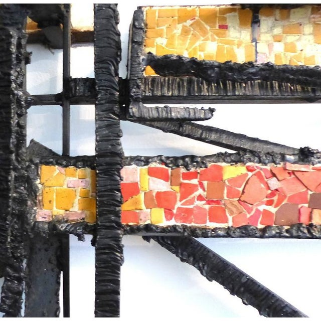 Sign Rue 1920s French Abstract Iron & Mosaic Tile Wall Sculpture - Image 4 of 11