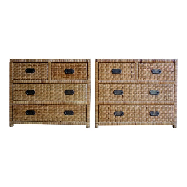 Lacquered Rattan Bachelor Chest (Pair Available) For Sale
