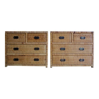Lacquered Rattan Bachelor Chests, a Pair For Sale
