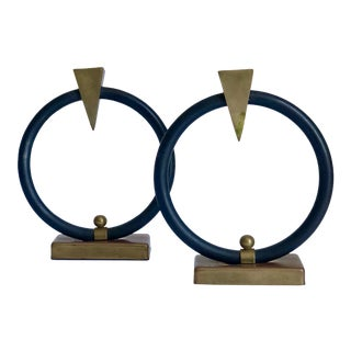 Art Deco Brass Arrow Ring Candle Holders - a Pair For Sale