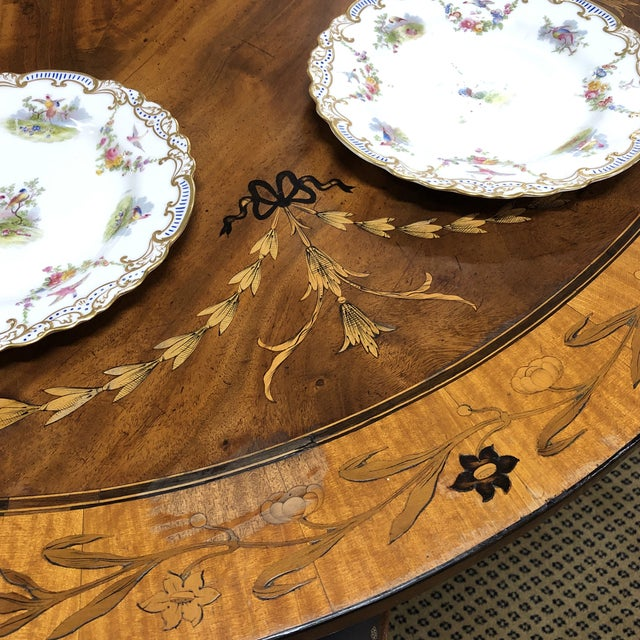 Brown Neoclassical Inlaid Oval Table & 4 Chairs - 5 Pieces For Sale - Image 8 of 10