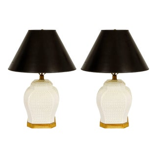 White Ceramic Lamps - A Pair For Sale