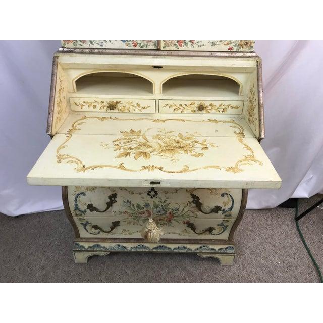 20th Century Cottage Quaint Floral Painted Secretary Desk For Sale - Image 9 of 11