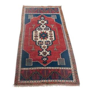 1950s Vintage Turkish Area Rug - 1′9″ × 3′9″ For Sale