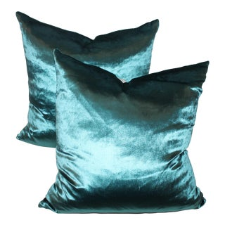 Sexy and Silky Aquamariane Silk Velvet Pillows For Sale