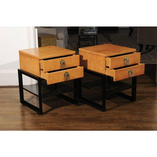 Johnson Furniture Co. Magnificent Pair of End Tables by Renzo Rutili in Birdseye Maple, Circa 1955 For Sale - Image 4 of 13