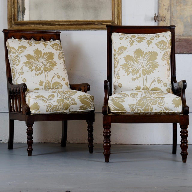 Fabric Pair of 19th Century Jacobean Gothic Armchairs For Sale - Image 7 of 7