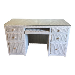 Vintage White Wicker Writing Desk For Sale