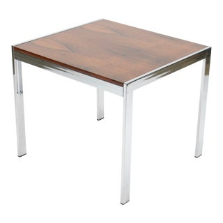 1960s Mid Century Modern Chrome and Rosewood Side Table For Sale
