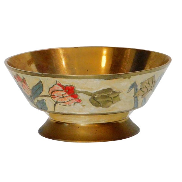 Floral Brass Bowl For Sale