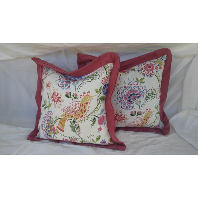 Bird and Floral Pillows - A Pair - Image 3 of 4