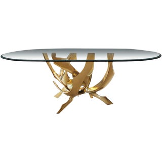 Signed Fred Brouard Abstract Bronze Dining Table Base For Sale
